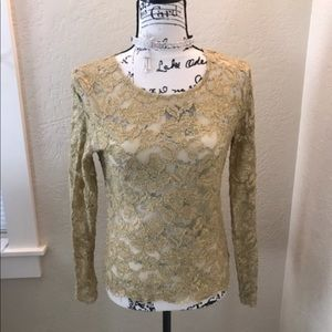 Cache Gold Mesh Undershirt Size Small